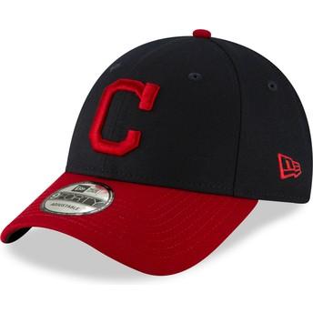Gorra curva azul marino y roja ajustable 9FORTY The League de Cleveland Indians MLB de New Era