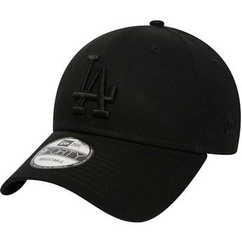 Gorra curva negra ajustable con logo negro 9FORTY League Essential de Los Angeles Dodgers MLB de New Era