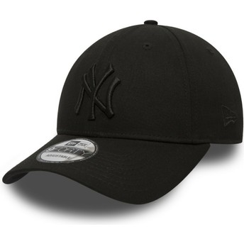 Gorra curva negra ajustable con logo negro 9FORTY League Essential de New York Yankees MLB de New Era