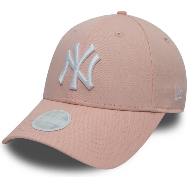 new-era-curved-brim-9forty-league-essential-new-york-yankees-mlb-pink-adjustable-cap