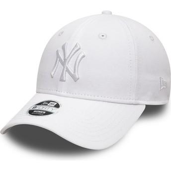 Gorra curva blanca ajustable con logo blanco 9FORTY League Essential de New York Yankees MLB de New Era
