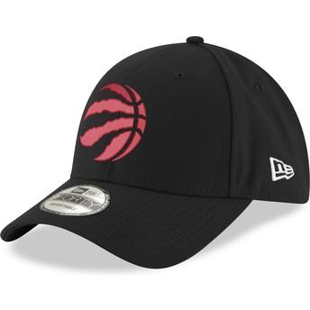 Gorra curva negra con logo rojo ajustable 9FORTY The League de Toronto Raptors NBA de New Era
