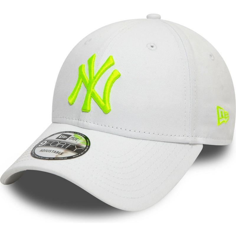 1c040cf2 New Era Curved Brim Green Logo 9FORTY League Essential Neon New York  Yankees MLB White Adjustable Cap