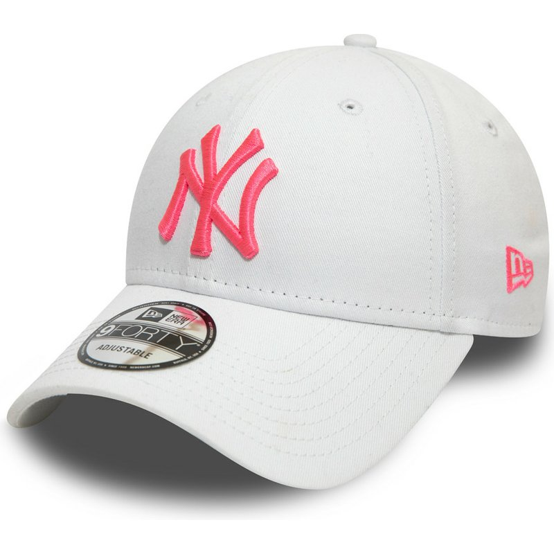 866db029 New Era Curved Brim Pink Logo 9FORTY League Essential Neon New York Yankees  MLB White Adjustable Cap