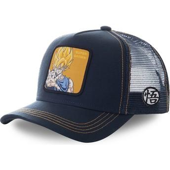 Capslab Son Goku Super Saiyan SAY3 Dragon Ball Navy Blue Trucker Hat