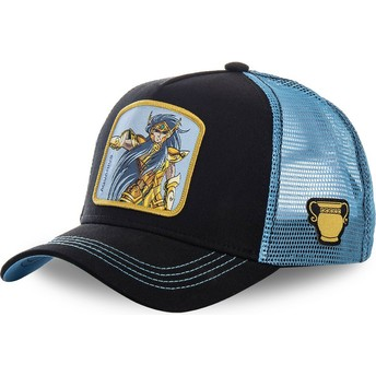 Capslab Aquarius AQU Saint Seiya: Knights of the Zodiac Black and Blue Trucker Hat