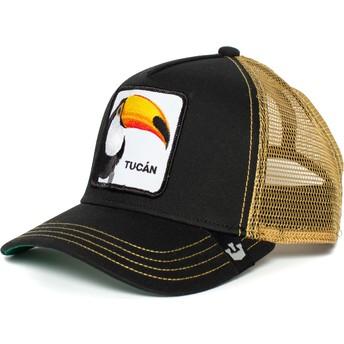 Gorra trucker negra y dorada tucán Tucan de Goorin Bros.