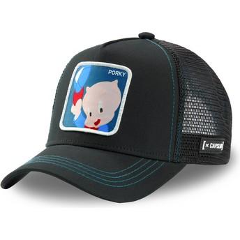Gorra trucker negra Puerco Porky POR2 Looney Tunes de Capslab