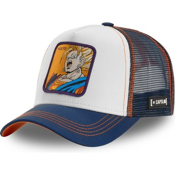 Gorra trucker blanca, azul y naranja Vegetto Super Saiyan VEG2 Dragon Ball de Capslab