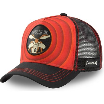 Capslab Wile E. Coyote Bullseye Color Rings WIL1 Looney Tunes Red and Black Trucker Hat