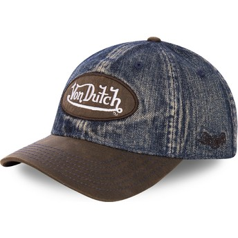 Von Dutch Curved Brim JEAN1 Blue Denim and Brown Adjustable Cap