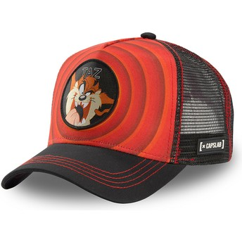 Capslab Tasmanian Devil Bullseye Color Rings LOO TAZ1 Looney Tunes Red and Black Trucker Hat