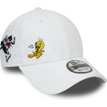 New Era Curved Brim 9FORTY Sylvester And Tweety Looney Tunes Chase White Adjustable Cap