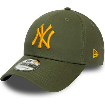 Gorra curva verde ajustable con logo naranja 9FORTY League Essential de New York Yankees MLB de New Era