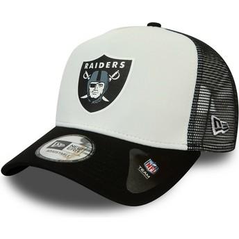 Gorra trucker blanca y negra Team Colour Block A Frame de Oakland Raiders NFL de New Era