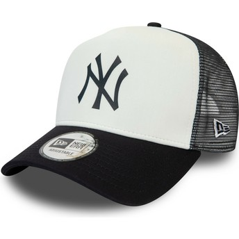 New Era Team Colour Block A Frame New York Yankees MLB White and Navy Blue Trucker Hat