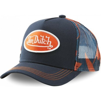 Gorra trucker azul marino y naranja AOP de Von Dutch