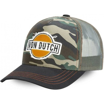Von Dutch CAM Camouflage and Black Trucker Hat