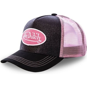 Von Dutch FLAK BLA Black and Pink Trucker Hat