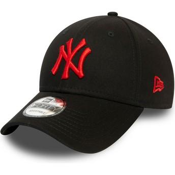 Gorra curva negra ajustable con logo rojo 9FORTY League Essential de New York Yankees MLB de New Era
