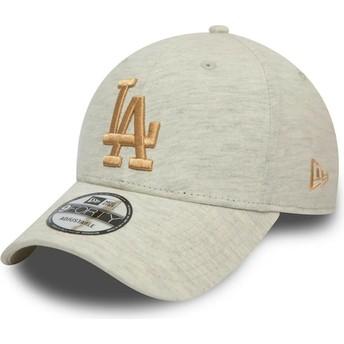 New Era Curved Brim Golden Logo 9FORTY Jersey Essential Los Angeles Dodgers MLB Beige Cap