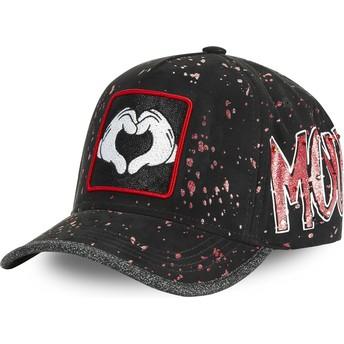 Gorra curva negra ajustable Mickey Mouse Manos Corazón TAG MIC2 Disney de Capslab