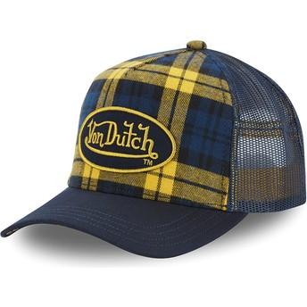 Gorra trucker amarilla y azul a cuadros CAR A4 de Von Dutch