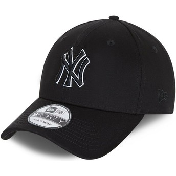 New Era Curved Brim 9FORTY Black Base New York Yankees MLB Black Snapback Cap