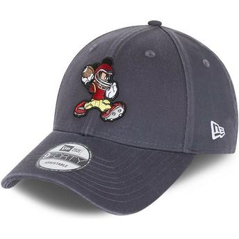 Gorra curva gris ajustable 9FORTY Character Sports Mickey Mouse American Football Disney de New Era