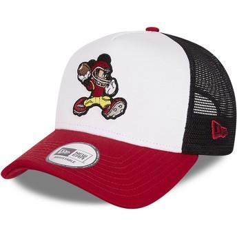 Gorra trucker blanca, negra y roja Character Sports A Frame Mickey Mouse American Football Disney de New Era