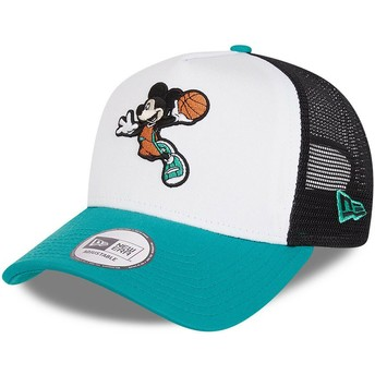 New Era Character Sports A Frame Mickey Mouse Basketball Disney White, Black and Blue Trucker Hat