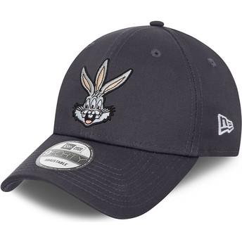 Gorra curva gris ajustable 9FORTY Bugs Bunny Looney Tunes de New Era
