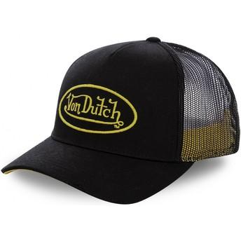 Von Dutch Yellow Logo NEO YEL Black Trucker Hat