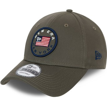 New Era Curved Brim 9FORTY USA Flag Green Adjustable Cap