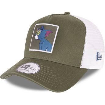 Gorra trucker verde y blanca A Frame Tom y Jerry Looney Tunes de New Era