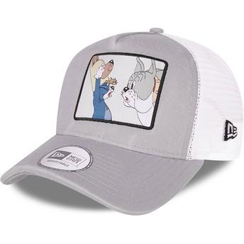 Gorra trucker gris y blanca A Frame Tom y Jerry Looney Tunes de New Era