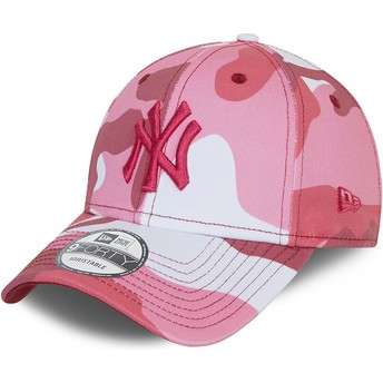 Gorra curva camuflaje rosa ajustable con logo rosa 9FORTY de New York Yankees MLB de New Era