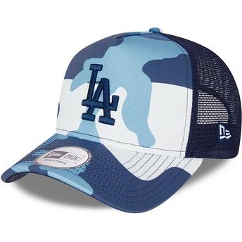 Gorra trucker camuflaje azul con logo azul A Frame de Los Angeles Dodgers MLB de New Era