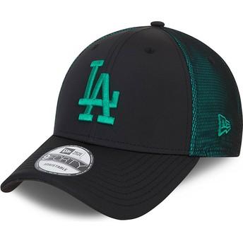 Gorra curva negra y verde ajustable con logo verde 9FORTY Mesh Underlay de Los Angeles Dodgers MLB de New Era