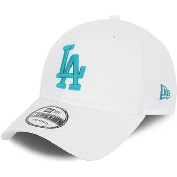 Gorra curva blanca ajustable con logo azul 9FORTY League Essential de Los Angeles Dodgers MLB de New Era