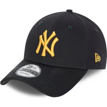New Era Curved Brim Golden Logo 9FORTY League Essential New York Yankees MLB Navy Blue Adjustable Cap