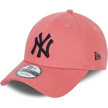 New Era Curved Brim Black Logo 9FORTY League Essential New York Yankees MLB Pink Adjustable Cap