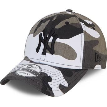 Gorra curva camuflaje negro ajustable con logo negro 9FORTY de New York Yankees MLB de New Era