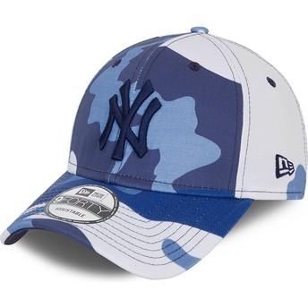 Gorra curva camuflaje azul ajustable con logo negro 9FORTY de New York Yankees MLB de New Era