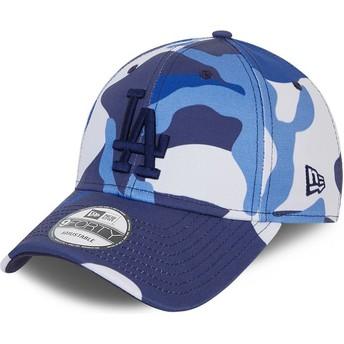 Gorra curva camuflaje azul ajustable con logo azul 9FORTY de Los Angeles Dodgers MLB de New Era