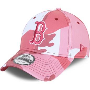 Gorra curva camuflaje rosa ajustable con logo rosa 9FORTY de Boston Red Sox MLB de New Era