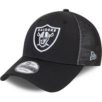 Gorra curva negra ajustable 9FORTY Mesh Underlay de Las Vegas Raiders NFL de New Era