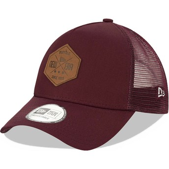 New Era A Frame 9FORTY Heritage Patch Maroon Trucker Hat
