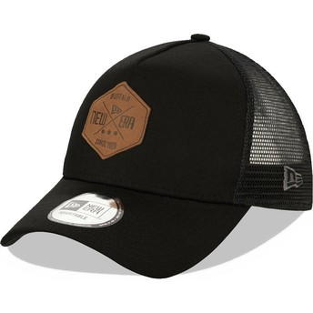 New Era A Frame 9FORTY Heritage Patch Black Trucker Hat