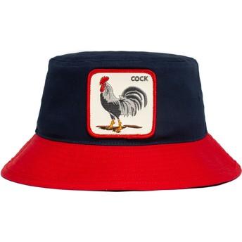 Bucket azul marino y rojo gallo Cock Americana The Farm de Goorin Bros.